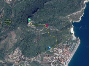 Карта пешеходного маршрута из посёлка Кириш на гору с турецким флагом в парке Бейдаглары Сахили