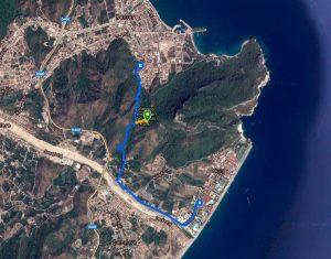 Схема пешеходного маршрута из Кириш в Кемер
