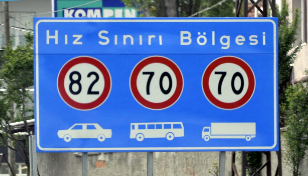 Ограниченя скорости дорога Анталья - Стамбул